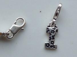 117467/1209- zwaar verzilverde metalen letter bedel I