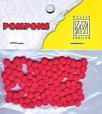 CE800600/0302- 100 stuks mini pompoms van 3mm rood