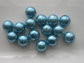 2263- 15 x glasparels 12mm licht turqoise