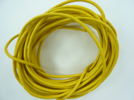 5 meter echt leren veter geel van 2mm dik - AA+ kwaliteit - SUPERLAGE PRIJS!