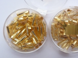 1698- 12mm best quality glazen getorste stiftjes goud 10gr in luxe doosje