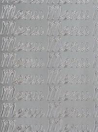 st992- stickervel met tekst menu 10x23cm zilver