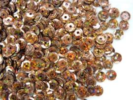 10 gram pailletten van 6mm facon geribbeld glitter bruin (grote hoeveelheid) SUPERLAGE PRIJS!