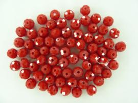 1679- ca. 70 stuks abacus facet geslepen glaskralen 8x6mm opak rood