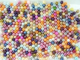 00001- 50gram kunststof parels van 6mm kleurenmix OPRUIMING