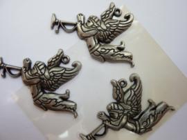 5214- 3 stuks metalen hangers engel 50x35mm oud zilver OPRUIMING