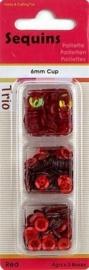 118370/5306- paillettentrio facon 6mm rood 12gr