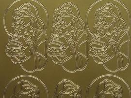 132- kerstafbeelding goud 10x20cm