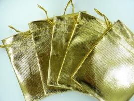 5 stuks organza zakjes ca. 10x11.5cm hoogglans ducatengoud