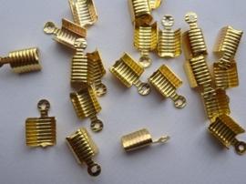 CN.056.20- 20 stuks veterklemmen/koordkapjes van 3x12mm goudkleur