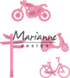 CE115638/1436- Marianne Design collectables village decoration set bycicle
