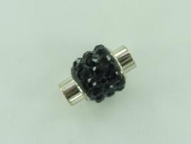 CH.1035 zwart- magneetsluiting van 14x10mm zwart met strass steentjes