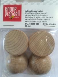 KN8616 830- 4 stuks halve houten ballen zonder gat 30mm