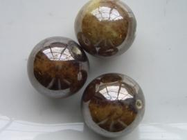 2751/29- porseleinen kraal 20/21mm gevlekt bruin hoogglans