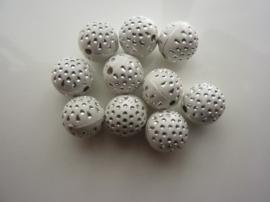 3985- 10 stuks strassballen 11mm wit met zilver - EXTRA LAGE PRIJS