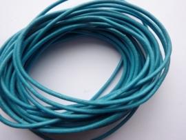 5 meter echt leren veter donkerblauw/turquoise van 2 mm. dik - AA kwaliteit - SUPERLAGE PRIJS!