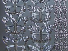 st 700- vlinders met randjes zilver
