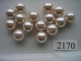 15 x glasparels rond 12mm pastel rose 2170