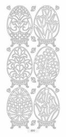 st868- stickervel met paaseieren zilver 10x23cm  -  121001/0733