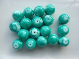 3793- 18 stuks glaskralen van 12mm azuurblauw