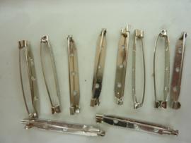 46mm - 10 stuks brochespeldjes staalkleur