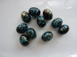 002203- 10 stuks kunststof kralen ovaal 12x9mm zwart/blauw/goud OPRUIMING