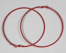 1 paar Creolen oorringen van 7cm doorsnee rood
