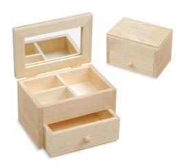 KN8735 425- 3 stuks houten sieradenkistjes 13x8.7x8.5cm
