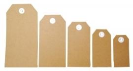 JOY8098/0003- 25 stuks Joy! Crafts kartonnen labels bruin van 11.2x5.6cm