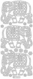 st943- stickervel met olifanten oosters goud 10x23cm  -  121001/1308