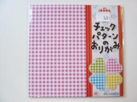 00531- 35 vel origami papier blokjes 5 kleuren 15x15cm OPRUIMING