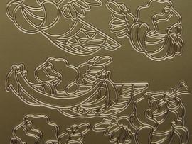 133- kerstafbeelding goud 10x20cm