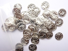CH.2905- 50 stuks metalen muntjes met gat 10mm zilver SUPERLAGE PRIJS!
