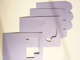 007961D- 12 stuks dubbele kaarten lila OPRUIMING