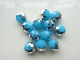 1684- 12 stuks electroplated glaskralen 10x7mm zilver/turquoise  - SUPERLAGE PRIJS!