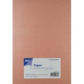 JOY8099/0208- 20 vellen cardstock papier linnen structuur 250grams A5 - metallic koraal