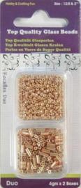 117218/6601- 2 x 4 gram glazen rocailles en stiftjes goud 2-4mm