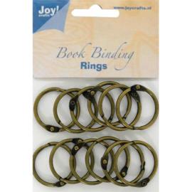 JOY6200/0132- 12 stuks boekbinders-ringen van 30mm brons