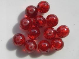 4079- 12 x qraccle glaskralen 10mm rood