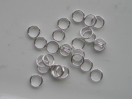 25 x dubbele ringetjes 6mm zilverkleur - SUPERLAGE PRIJS!