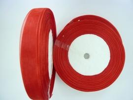 rol met 22.86 meter rood organzalint van 12mm breed - SUPERLAGE PRIJS!