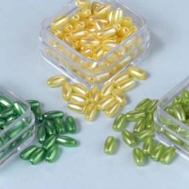 CE460120/0002- 3 doosjes rijstekorrel parels van 6mm - geel/groen/l.groen