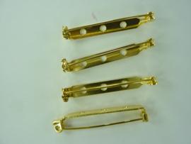 38mm - 4 stuks brochespeldjes goudkleur met veiligheids sluiting