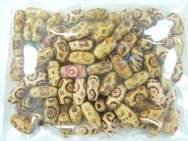 CH.246- 100 stuks ovale houten folie kralenmix 15x7mm