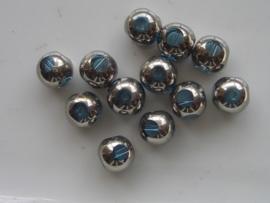 668 - 12 x glaskralen met venstertjes 8mm turqoise blauw
