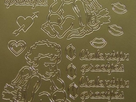 st537- valentijngroetjes goud 10x20cm