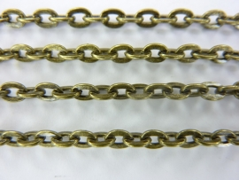 3847- 2 meter ketting/jasseron 5x2.5mm schakels geelbrons