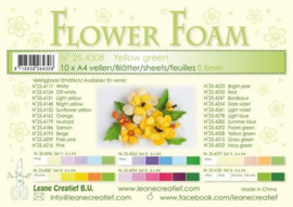 CE800205/4308- 10 sheets flower foam sheets A4 - geelgroen