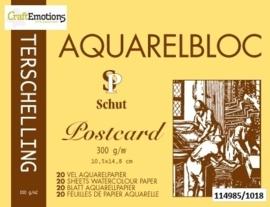CE114985/1015- 20 vel Schut Terschelling aquarelbloc postcard 300grams 10.5x14.8cm