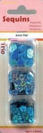 118370/7307- paillettentrio 6mm plat blauw 12gr